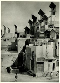 Hyderabad, Pakistan 1933.  Wind catchers on the houses of Hyderabad in Pakistan to provide natural ventilation.