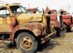 Yesterdays Ride ~ Mack Truck Car Trailer, Flatbed Trailer, Trailers, Antique Trucks, Vintage Trucks, Old Mack Trucks, Mack Attack, Junkyard Dog, Diesel Brothers