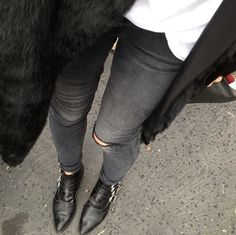 ripped grey denim + pointed boots