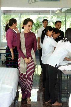 Daw Aung San Suu Kyi visit Daw Khin Kyi Foundation Training Center.