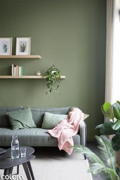 green wall - Ikea DIY - The best IKEA hacks all in one place Accent Walls In Living Room, Living Room Green, Green Rooms, Home Living Room, Living Room Decor, Green Interior Design, Interior Design Living Room, Living Room Designs, Light Green Walls