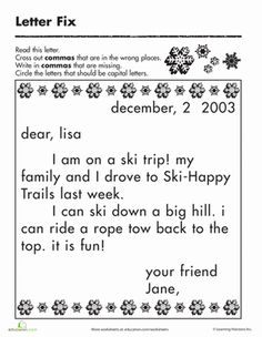First Grade Punctuation Spelling Worksheets: Fix the Letter: Commas and Capitalization Worksheet