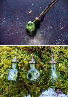 Lichen Specimen Necklaces- Green Glass Bottles