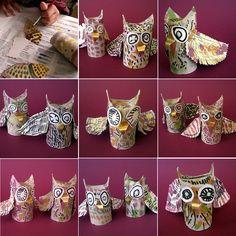 Fem Manuals: d'octubre 2012 Easy Art For Kids, Crafts For Kids, Arts And Crafts, Environmental Crafts, Fall Owl, Kindergarten Art Lessons, Paper Roll Crafts, Bird Theme, Owl Crafts