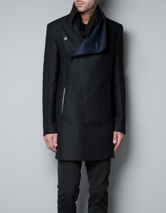 COAT WITH FAUX LEATHER COLLAR - Coats - Man - ZARA