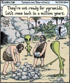 More fun from the creator of Bizarro Comics. Good Cartoons, Funny Cartoons, Funny Jokes, Hilarious, Bizarro Comic, Ufo, Funny Cartoon Pictures, Aliens Funny, Alien Art