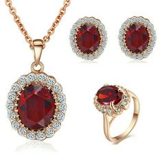Yoursfs Kate Middleton Style Jewelry Sets 18k Rose Gold Plated Ruby Pendant Necklace and Stud Earring and Rings (7)