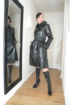Leather Trench Coat, Leather Skirt, Plastic Mac, Rain Cape, Rubber Raincoats, Rain Wear, Goth, Female, Macs