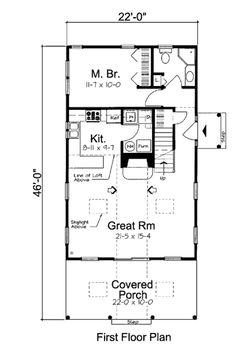 Farmhouse 2 Beds 2 Baths 1093 Sq/Ft Plan #312-619 Main Floor Plan - Houseplans.com
