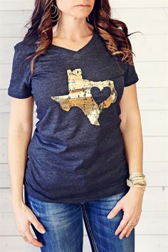Gold Foil State Tees - ALL States Available! Choose your Home State! | Unisex Adult Sizes!