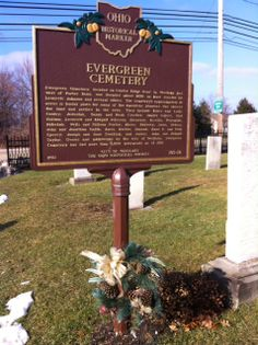 Ohio Historical Marker Side B  Evergreen Cemetery