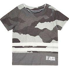 Mini boys grey camo stripe T-shirt