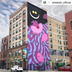 I love it!!  #chesirecat #aliceinwonderland #oneofmyfavorites #wall #bulding #socool #iloveit #Repost @streetart_official ... @incarceratedjerkfaces wall in Chicago Illinois USA (2017) #incarceratedjerkfaces #urbanart #streetart #painting #streetartofficial #contemporaryart #chicago #illinois