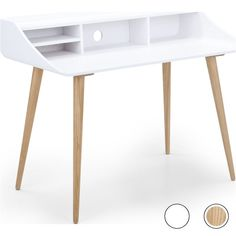Esme Desk, White and Ash from Made.com. Light Wood/White. You can try not to be charmed by the Esme collection, but with those rounded edges and sp..