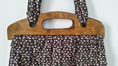 Vintage Floral Book Bag Wooden Handle by DirtyPopAccessories on Etsy