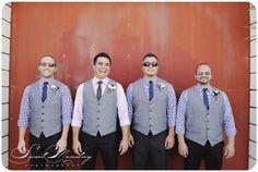 checkered shirt, gray vest, blue pants, skinny ties, aviator sunglasses, groomsmen, smog shoppe wedding, yellowbird events Photo by Sweet Monday Photography www.sweetmondayphotography.com