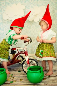 Gnomes: I am pretty much in love with this cute (and recently trendy) but still goofy costume idea! While seen here on young children, this costume idea can easily be altered for any age and can be made from things in your own closet or thrift store finds.