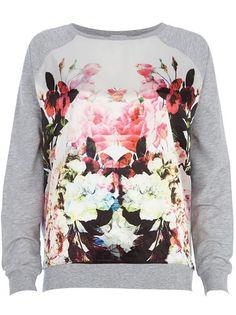 Grey Long Sleeve Floral Loose Sweatshirt
