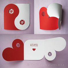 by Crafting Creatures.  The interlocking Yin Yang design with Japanese flower motif opens up to reveal two interlocking hearts and a message for your Valentine. Overlapping two different colors of paper allows you to customize this card for weddings or anniversaries as well.  Part 3 of my Valentine collection, soon to be released on Etsy.