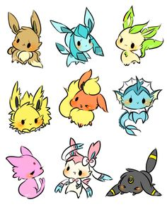 Eevee and its evolutions Gif Pokemon, Pikachu Pikachu, Pokemon Eeveelutions, Eevee Evolutions, Pokemon Fan Art, Draw Pokemon, Pokemon Fusion, Cute Pokemon Wallpaper, Cute Cartoon Wallpapers