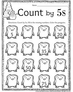 Grade December Count by Penguins math worksheet. Fill in the missing number and color the penguins. Math Coloring Worksheets, First Grade Math Worksheets, Teaching First Grade, Kindergarten Math Worksheets, School Worksheets, 1st Grade Math, Kindergarten Reading, Maths, Homeschool Math