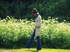 Cardigan & wide leg jeans