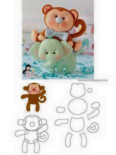 felt elephant and monkey pattern Baby Crafts, Felt Crafts, Fabric Crafts, Sewing Crafts, Sewing Projects, Felt Animal Patterns, Stuffed Animal Patterns, Monkey Pattern, Felt Templates