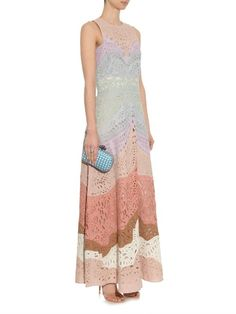 Valentino Rainbow embroidered linen dress