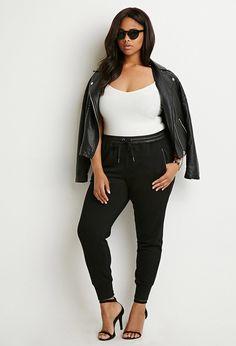 Plus Size Faux Leather-Trimmed Joggers