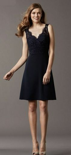 279d4c0266 Watters 4843 V Neck Short Bridesmaid Dress with Lace image Foto De  Vestidos