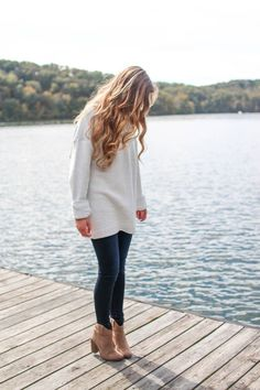 knit sweater, jeans and ankle boots