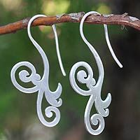 Sterling silver drop earrings, 'Enamored' The florid elegance of these earrings is admirable. By Thai designer Jantana, the sterling silver earrings are crafted by hand featuring her characteristic brushed-satin finish.