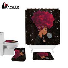 4PCS Sea Style Non Slip Toilet Cover Mat Set Bathroom Shower Curtain RK