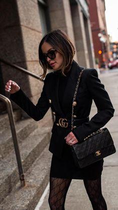 Balmain Blazer Outfits, Blazer Outfits For Women, Gucci Outfits, Chic Outfits, Classy Outfits, Winter Fashion Outfits, Fall Outfits, Black Outfits, Fall Dresses