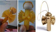 decorazioni natalizie angeli fatti con la pasta rigatoni farfalle chifferi ruote…