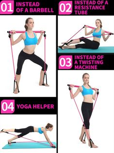 Portable Pilates Bar Kit With Resistance Band Exercise Stick – Pretty Little Deal Store Pilates Workout Routine, Pilates Reformer Exercises, Bar Workout, Fitness Pilates, Workout Ball, Prenatal Pilates, Pregnancy Pilates, Full Body Workouts, Pilates For Beginners