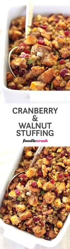 The play of savory and sweet is what makes this Cranberry & Walnut Stuffing extra special. foodiecrush.com #stuffing #dressing #thanksgiving