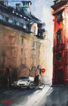 Jacobsgatan, Stockholm,38x56cm. Akvarell av Stefan Gadnell