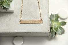 Long Hammered Bar Necklace Gold Bar Silver Bar by pixleypressed