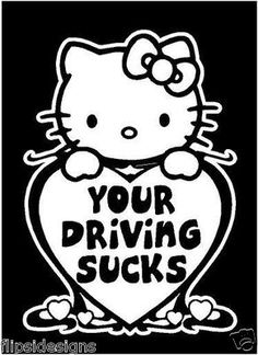 Hello Kitty With AK  Vinyl Decal Sticker Punisher Skull Gun - Hello kitty custom vinyl decals for car