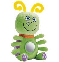 """Tiny Tillia Jordy Bug Sensory Plush - All of baby's favorites in one plush 7"""" H x 5 1/2"""" W doll. Features:  • mirror  • crinkly feet  • rattle  • loop for attaching anywhere."""