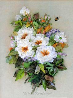 "picture ""Rosehip"",  Silk ribbon embroidery, fiori di stoffa, ribbon, roses,ribbonwork, hand embroidery"