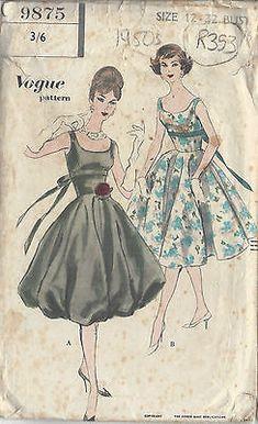 "1950S Vintage VOGUE Sewing Pattern DRESS B32"" (R353) - £17.99 | PicClick UK"