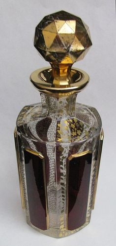 Moser Ruby Cabochon Scent Bottle with Gilt Stopper.  ca.1900.