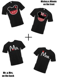 Disney, Mickey and Minnie on the Front, Mr. & Mrs. on the back, two matching couples' T-shirts for 34.99 on Etsy, $34.99