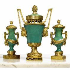 An assembled Louis XVI ormolu-mounted Sèvres apple-green porcelain garniture circa 1770 — USD LOT SOLD. USD (Hammer Price with Buyer's Premium) Decoration, Art Decor, Urn Vase, China Porcelain, Painted Porcelain, Louis Xvi, Chinoiserie, Classic Style, French Style