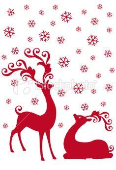reindeer in snowfall, vector Royalty Free Stock Vector Art Illustration