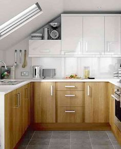 Small Kitchen Cabinets   Wood Cabinets On Bottom And White On Top Is A Nice  Alternative Modern Cabinet. Design
