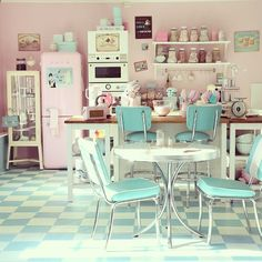 pastel American diner kitchen...I will have this kitchen when I am older