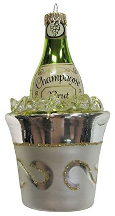 Celebrate with Champagne Bottle in Ice Bucket Christmas Holiday Ornament - Mary B Decorative Art Champagne Christmas Tree, Luxury Christmas Tree, Christmas Tree Baubles, Holiday Ornaments, Christmas Holidays, Champagne Ice Bucket, Glas Art, Glitter Gifts, Hanging Hearts